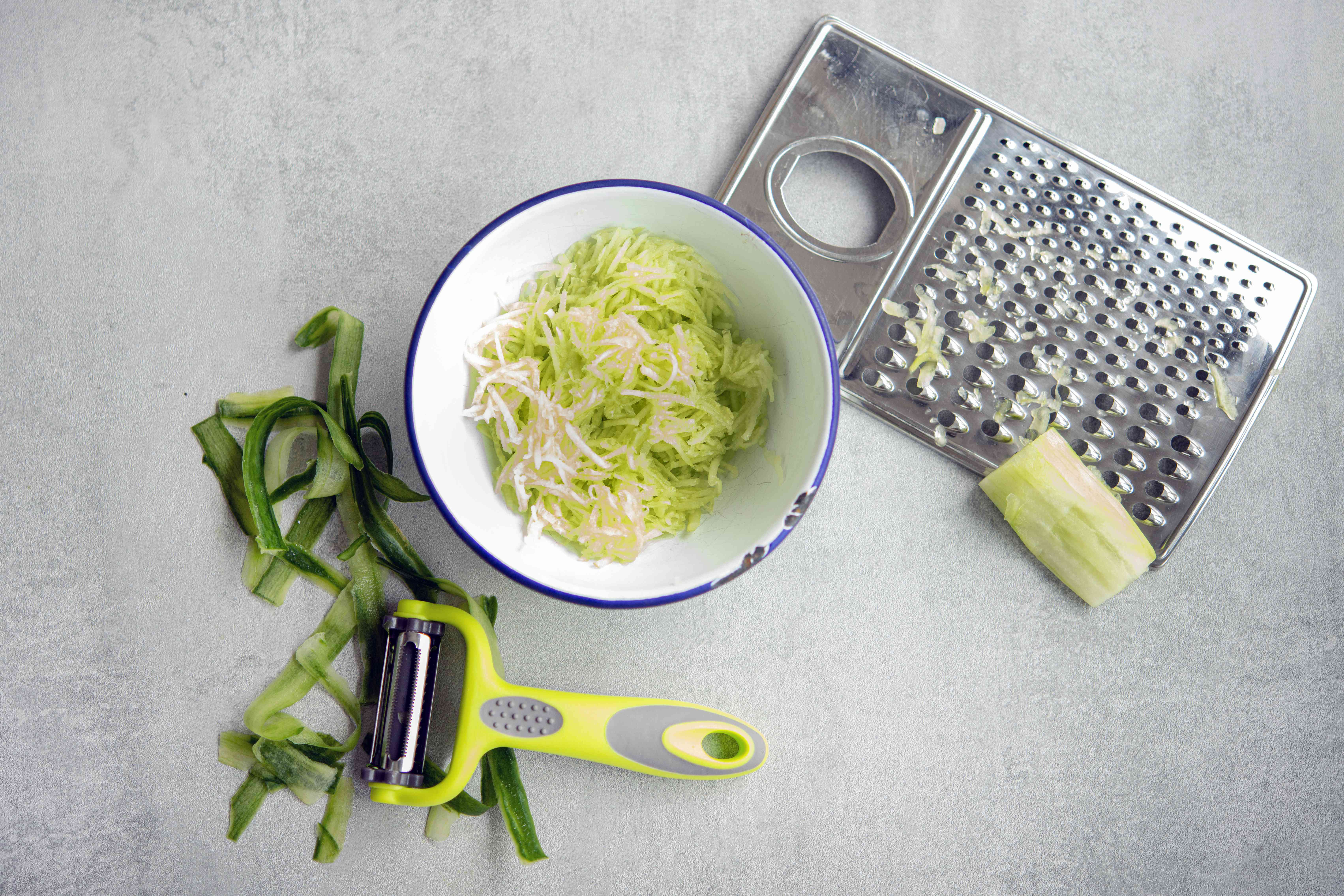 cucumber peeled and grated in a bowl