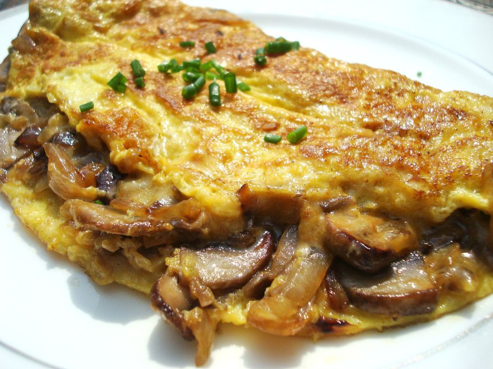Mushroom and onion omelet on white plate.