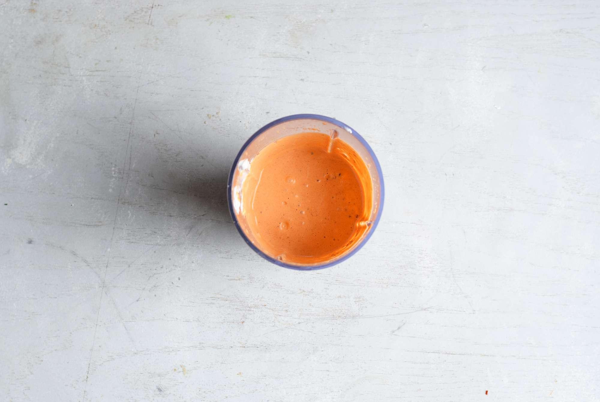 blended chipotle crema in a blender