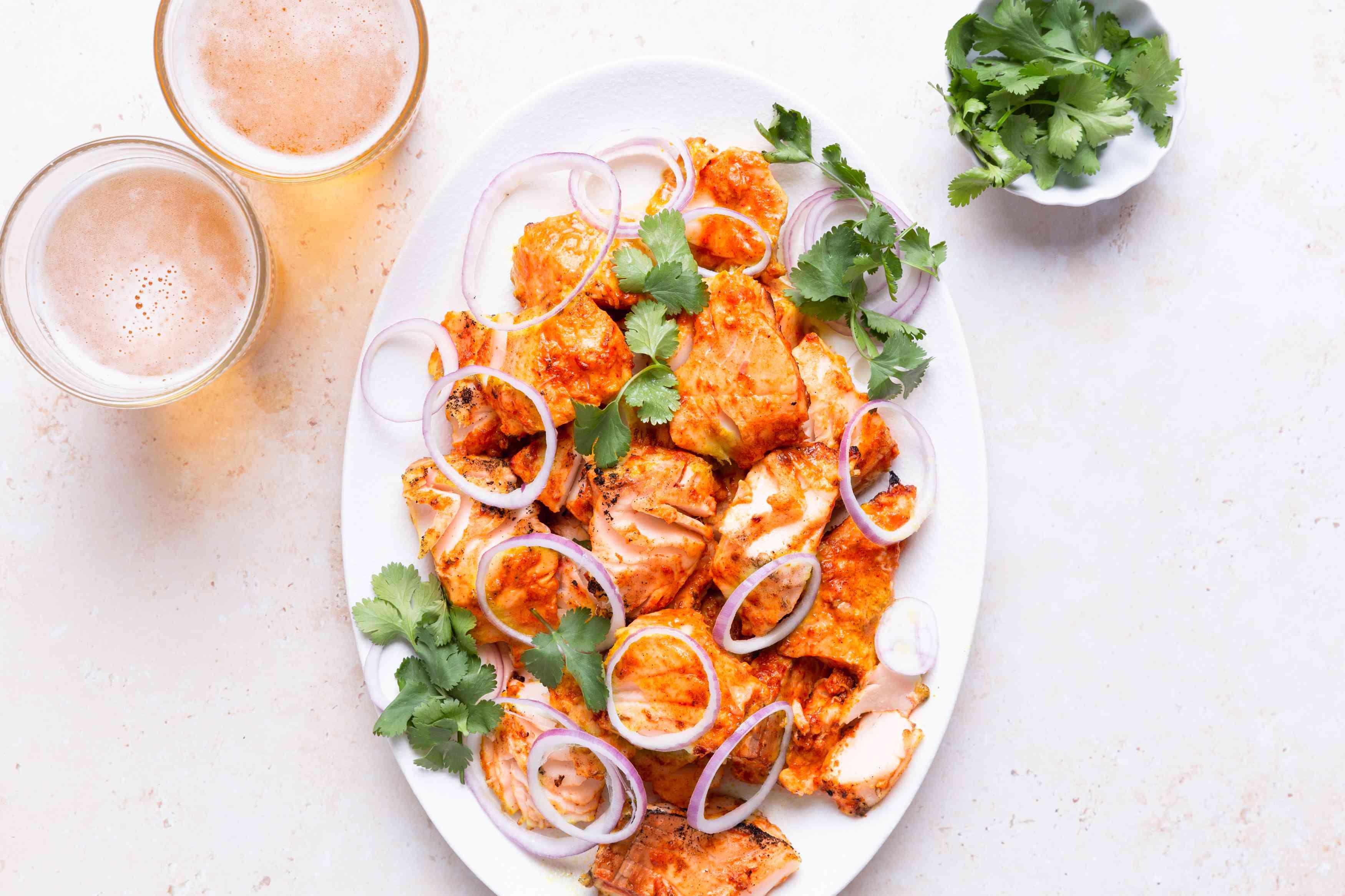 Grilled Tandoori Cod on a platter