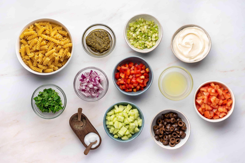 Garden Pesto Pasta Salad With Rotini ingredients