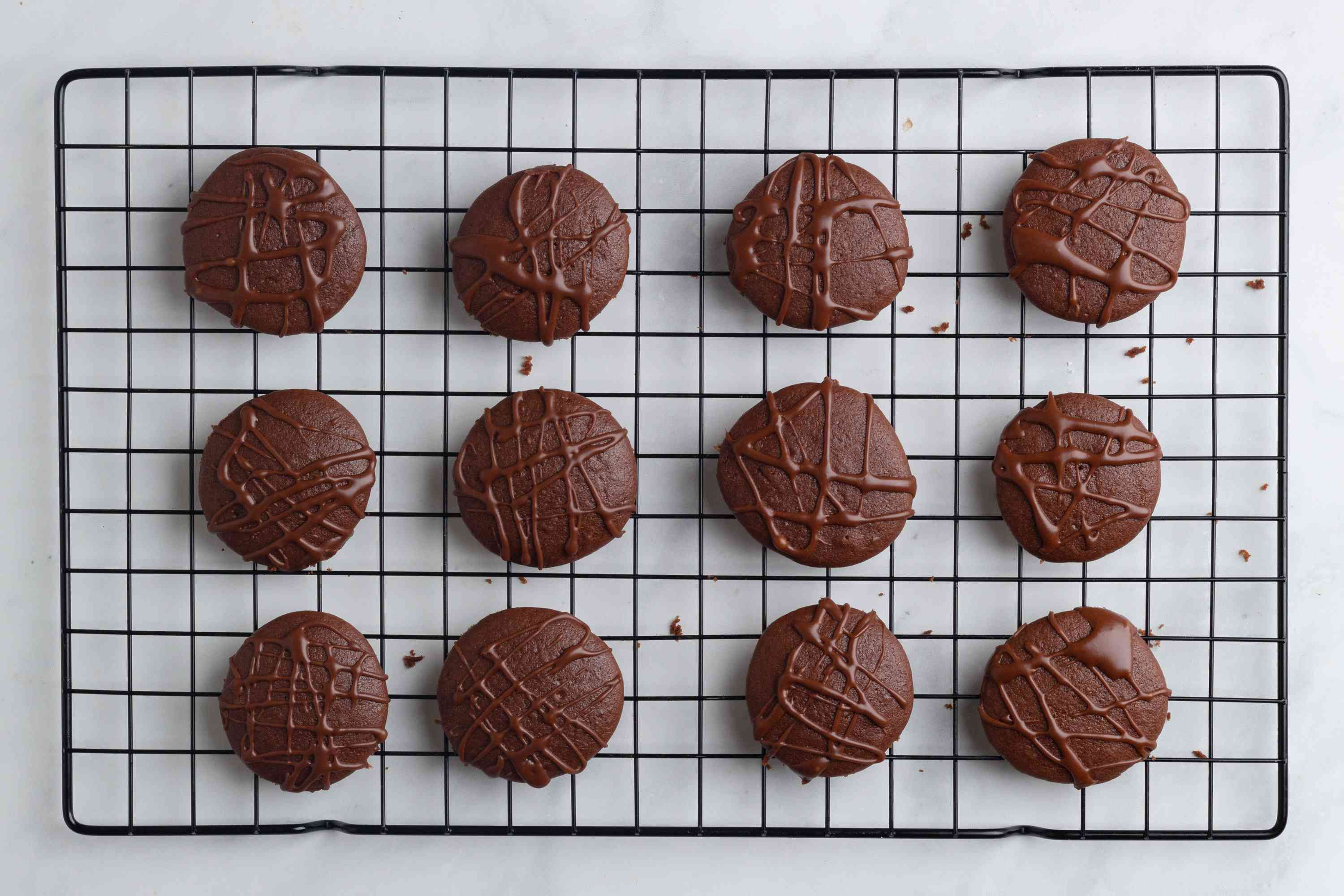 Chocolate Cookies With Mocha Glaze on a cooling rack