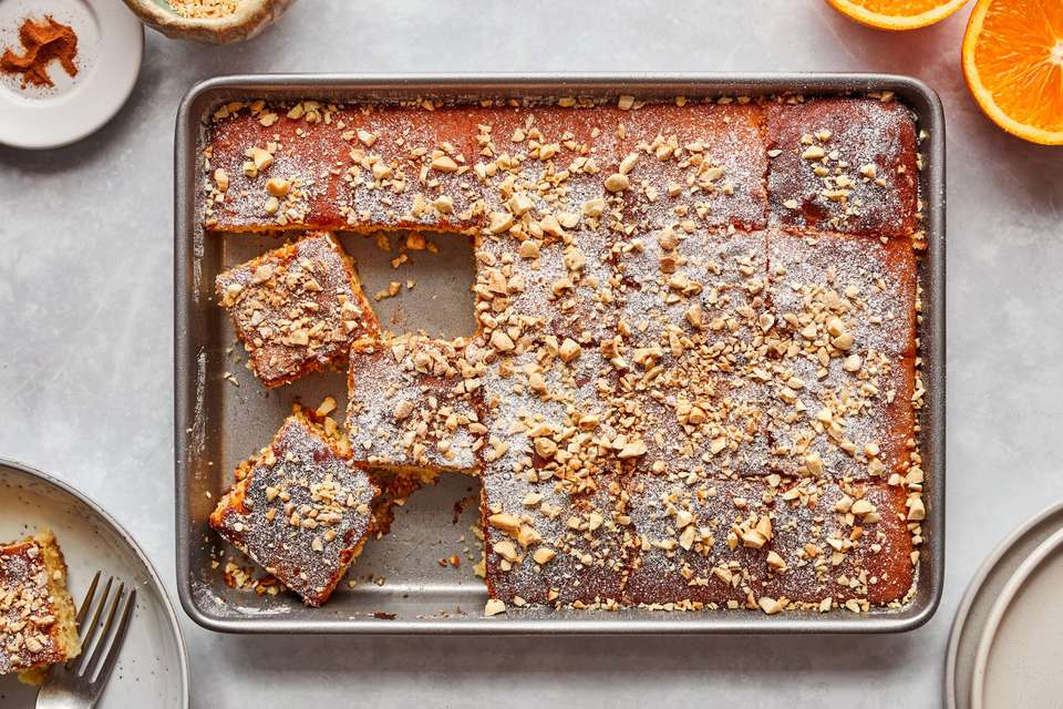 Greek revani cake with orange syrup