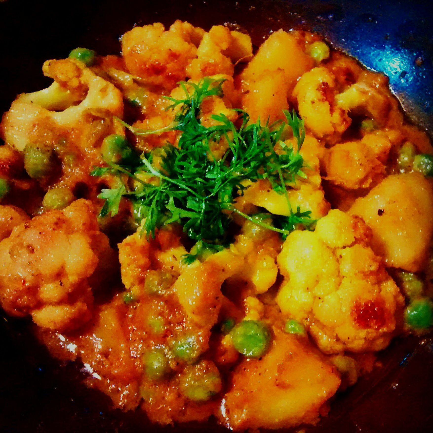 Aloo Matar Gobi Cauliflower Peas Potatoes Recipe
