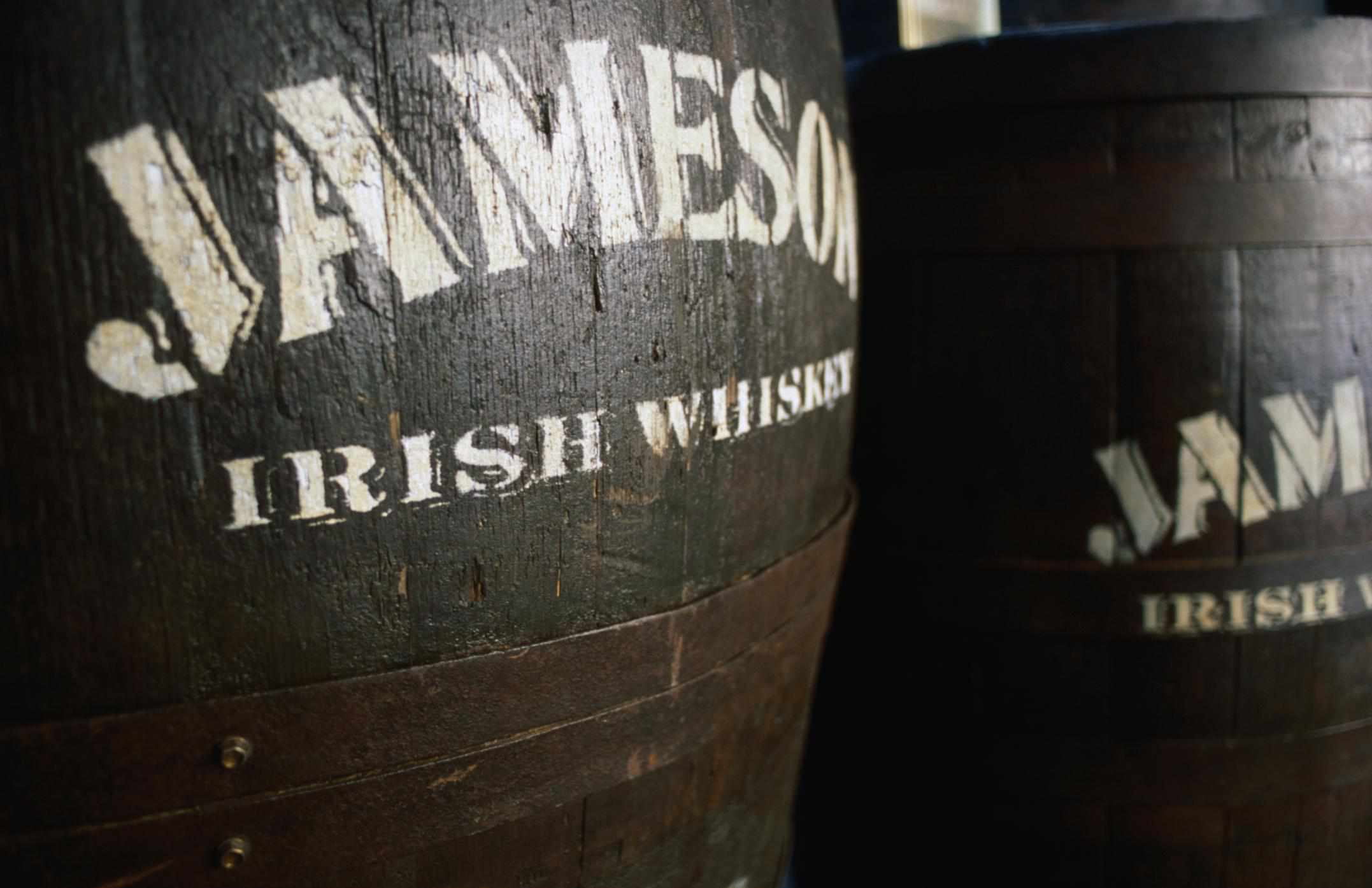 Barrels of the iconic Jameson Irish Whiskey.