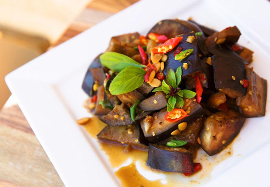 Stir-Fried Eggplant on square plate.