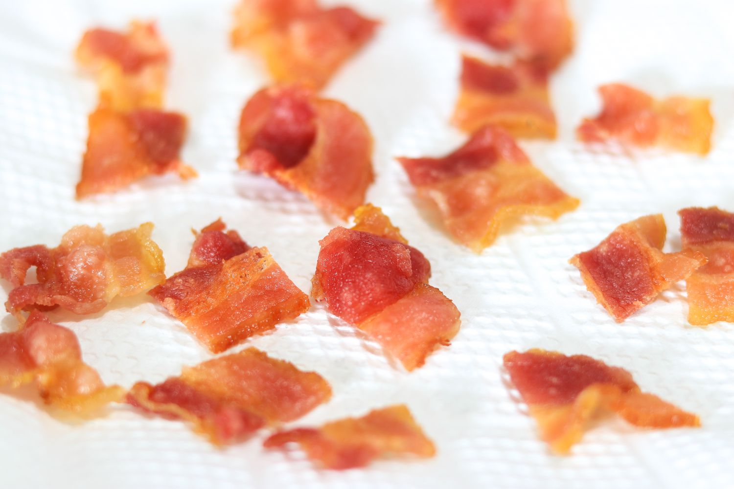 Bacon draining on paper towels
