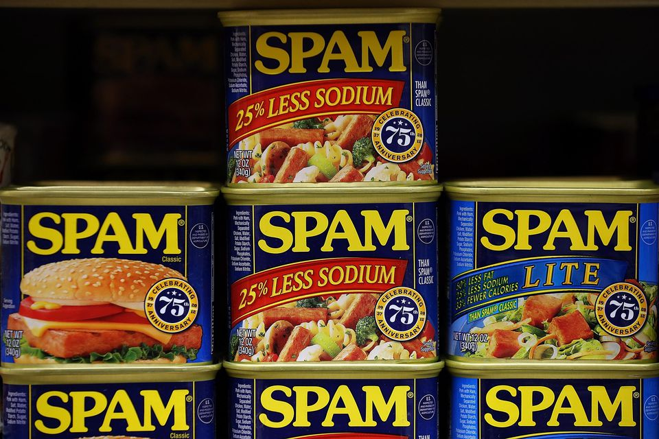 Cans of Spam are displayed on a shelf at Cal Mart grocery store on January 3, 2013 in San Francisco, California.