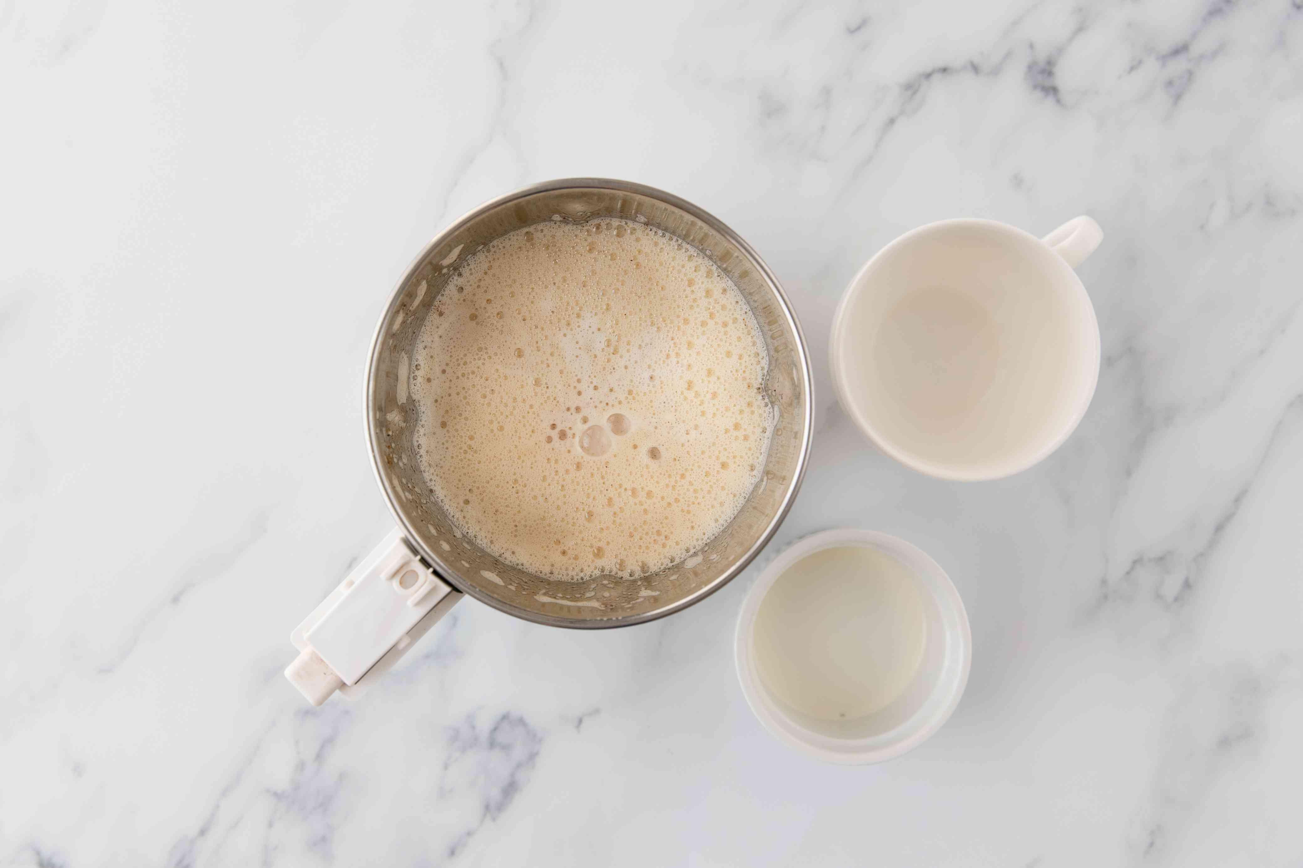 Milk and cream mixed into eggnog
