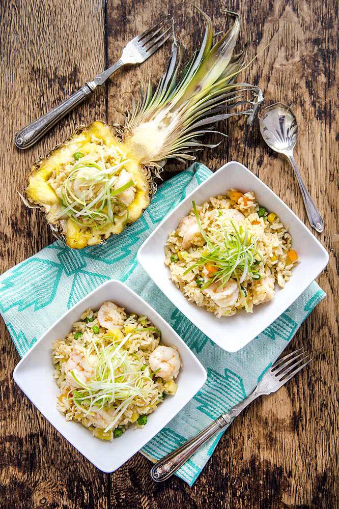 Delicious Chinese pineapple and shrimp fried rice