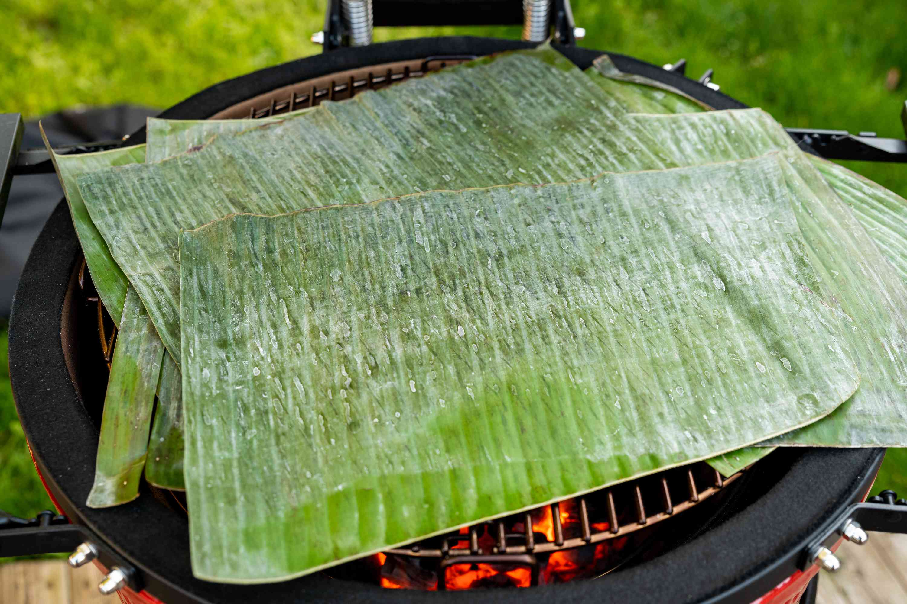 banana leaves on a grill