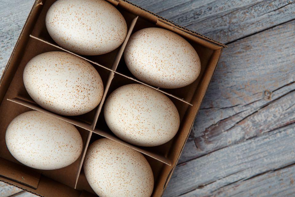 Duck eggs in a box