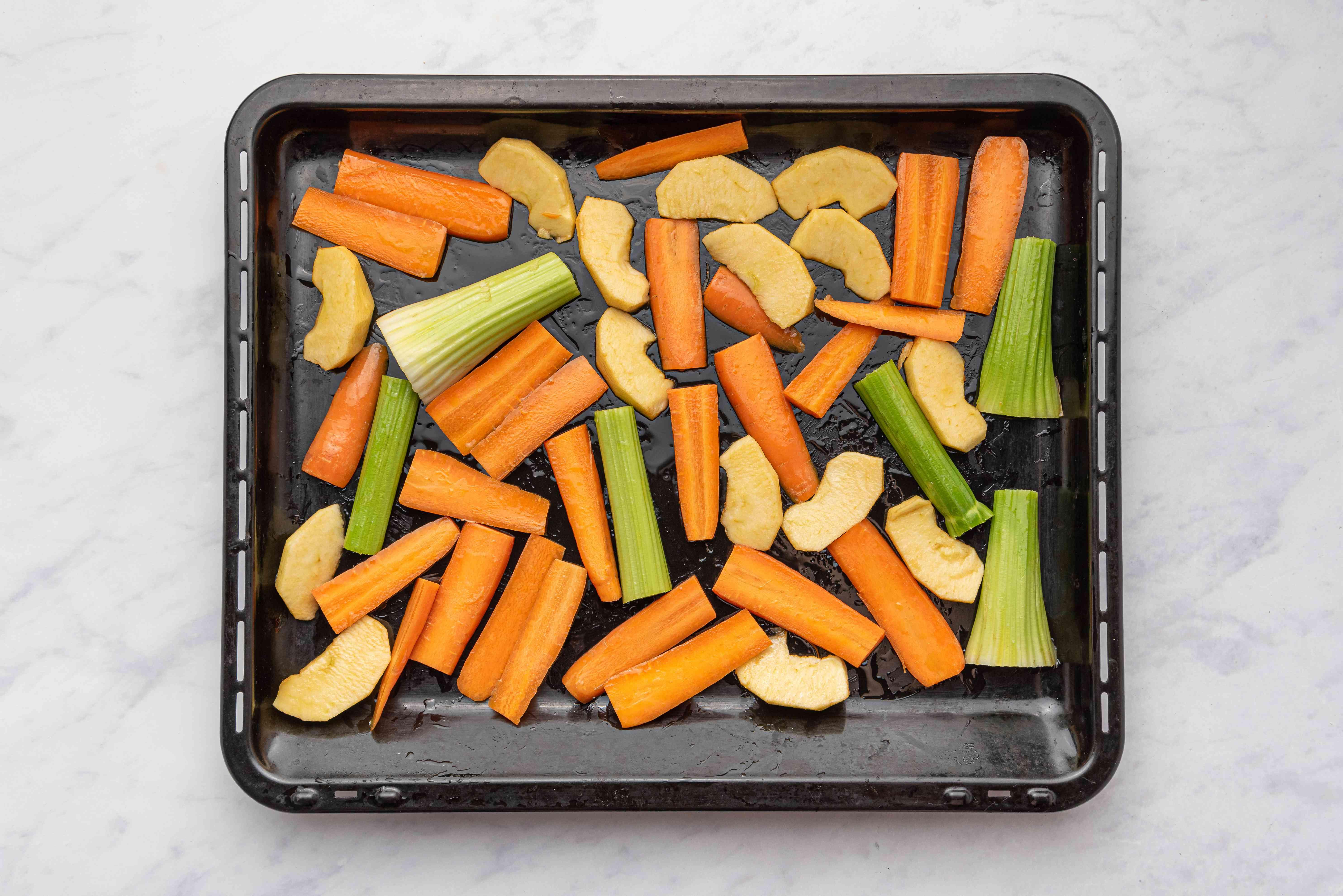 vegetables on a baking sheet