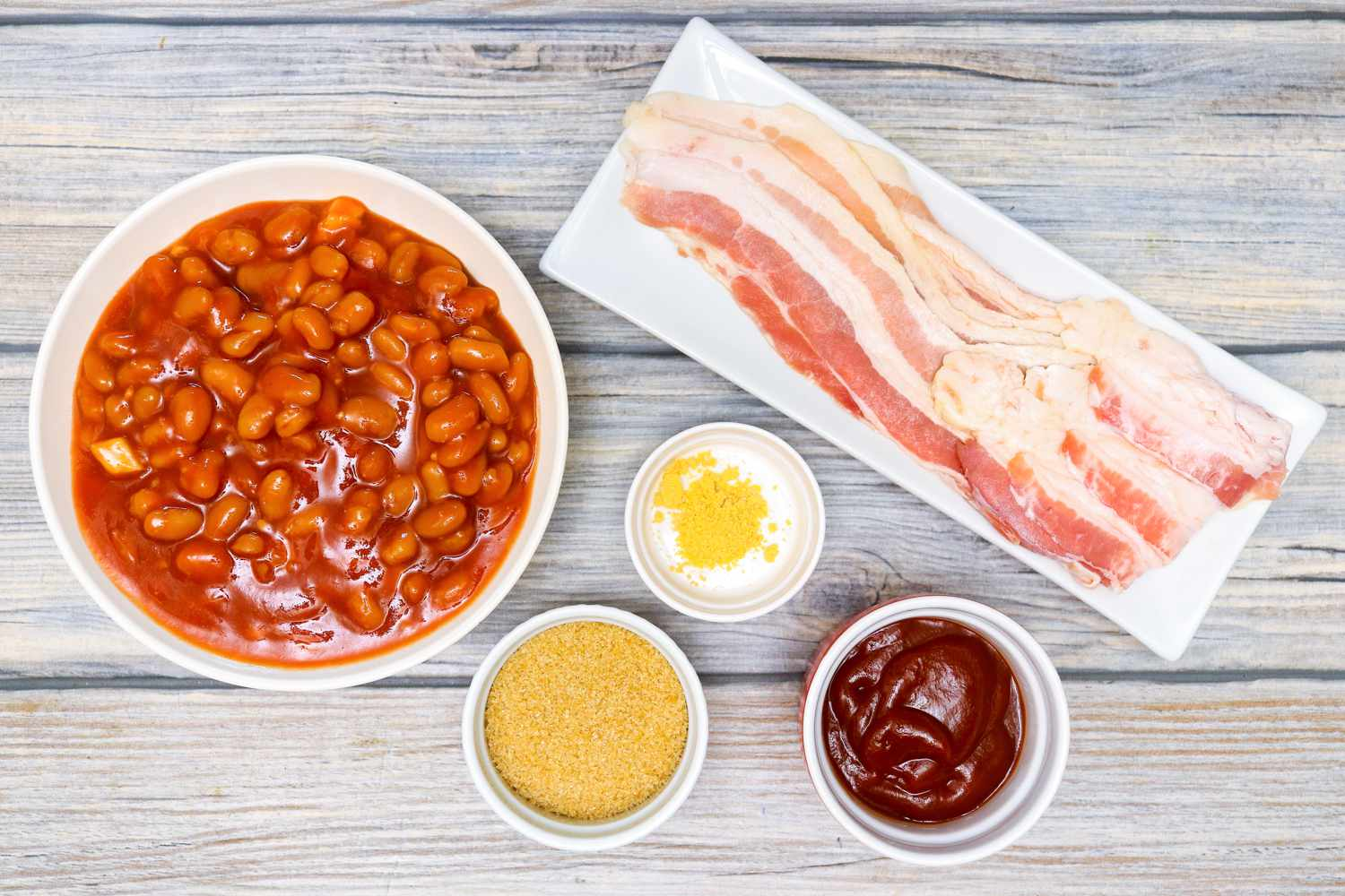 Ingredients for slow-cooker beans with bacon