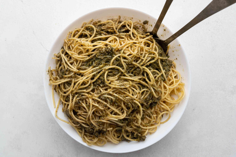 Basil Sunflower Seed Pesto served with pasta