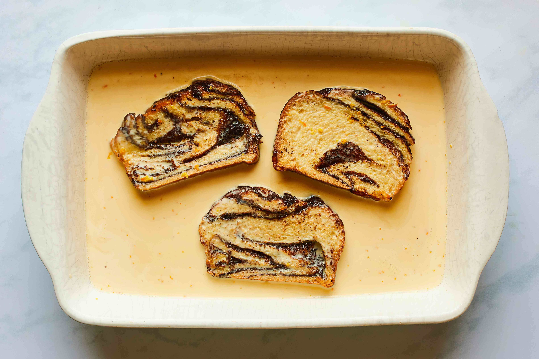 babka soaking in custard