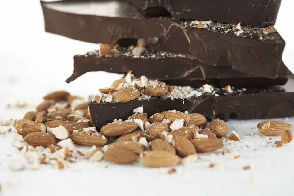 Stack of chocolate with almonds