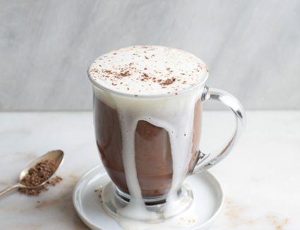 mocha coffee in a glass mug