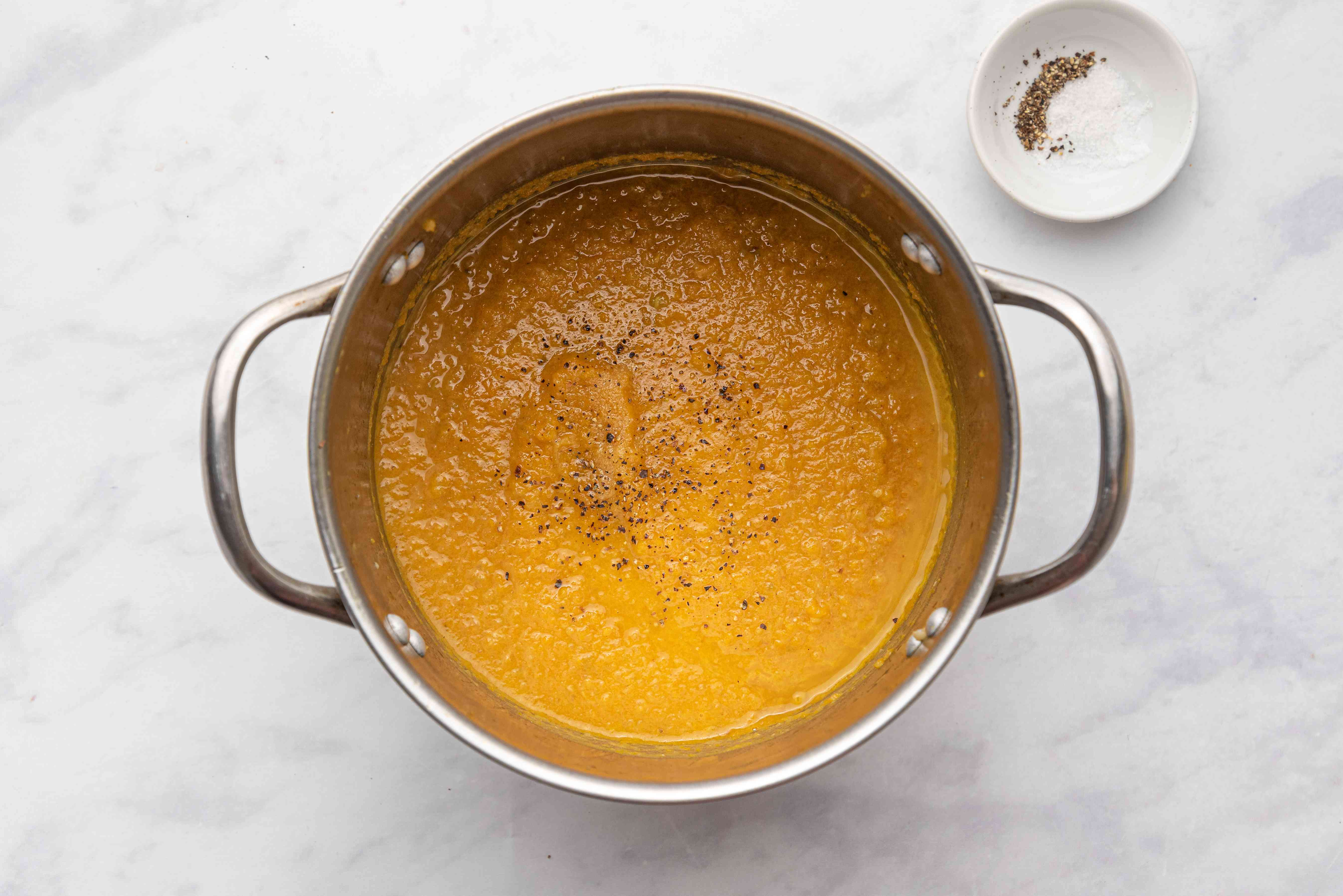 Roasted Carrot, Apple, and Celery Soup (Pareve or Dairy) in a pot
