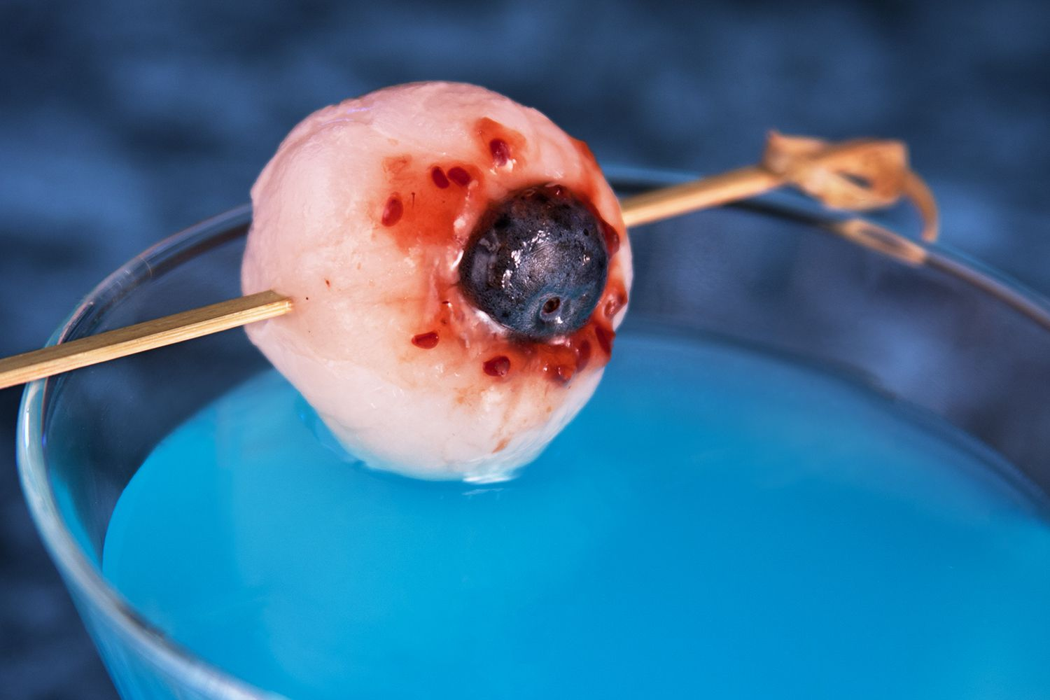 Lychee Eyeball Garnish for Halloween Cocktails