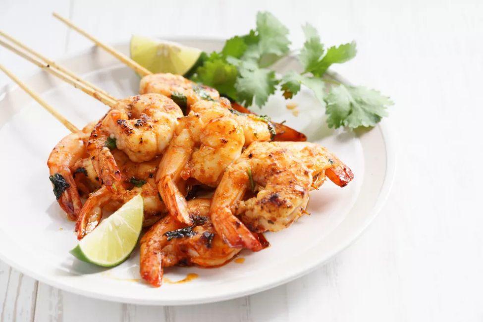 Honey, ginger, lime, and rum glazed shrimp