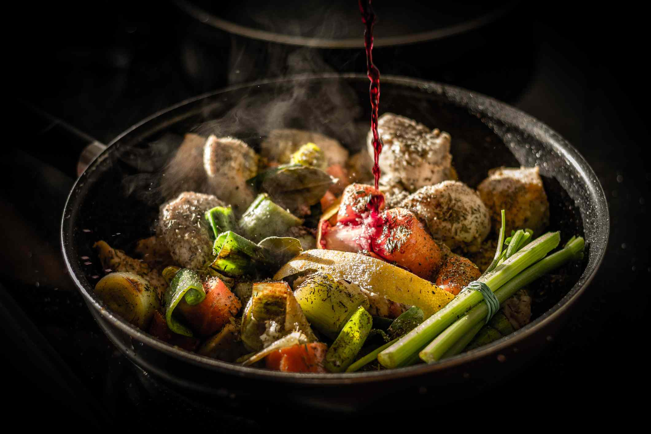 Veges and meat in a pan