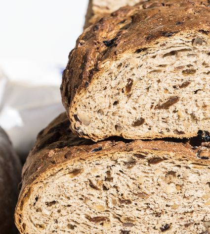 Bread of rye with nuts and you happen