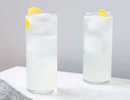 Two glasses of gin fizz cocktail