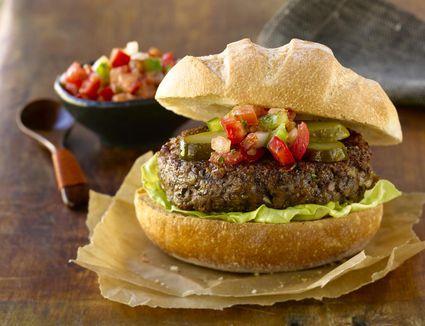 Hamburger with salsa