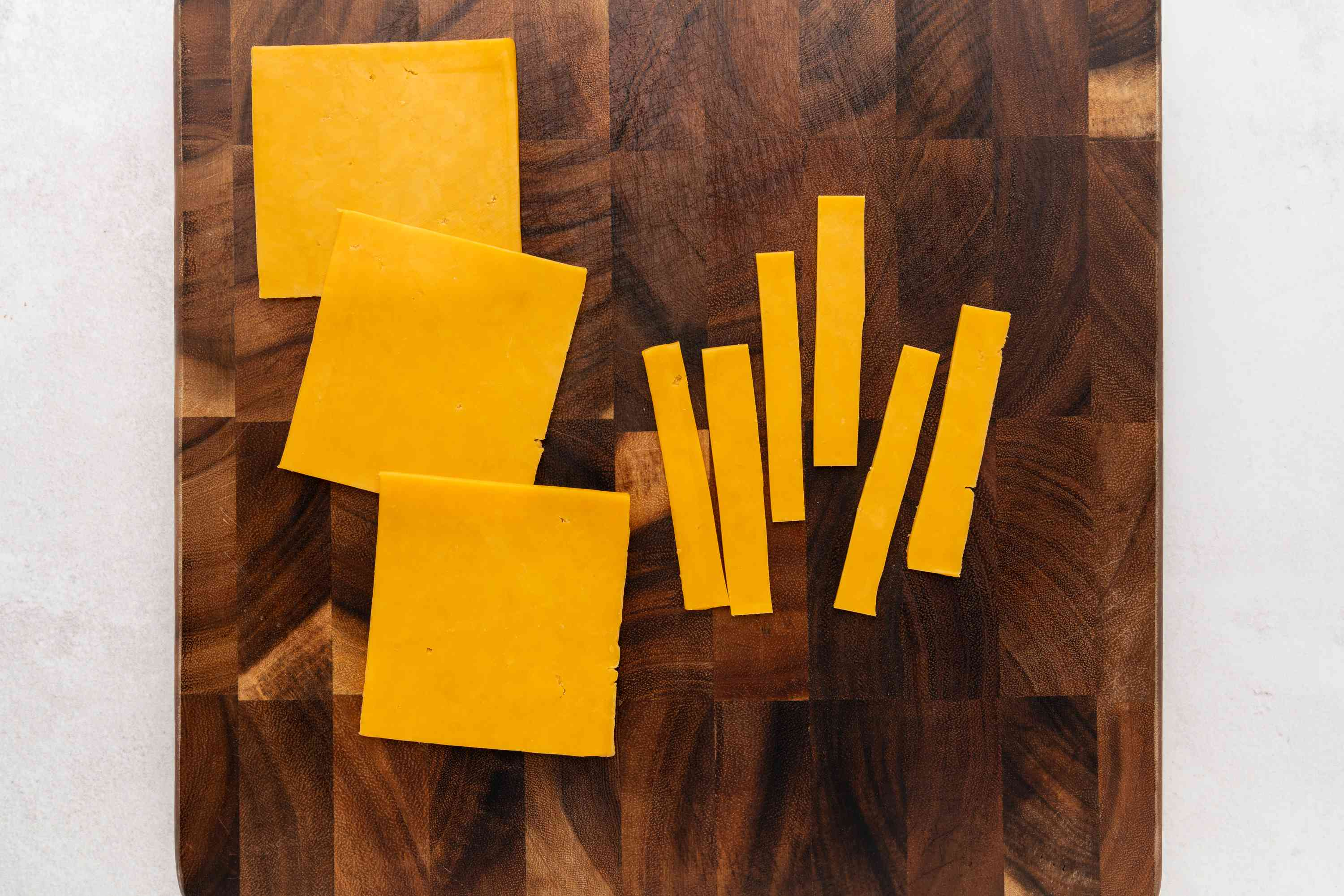 Cheese slices cut into pieces