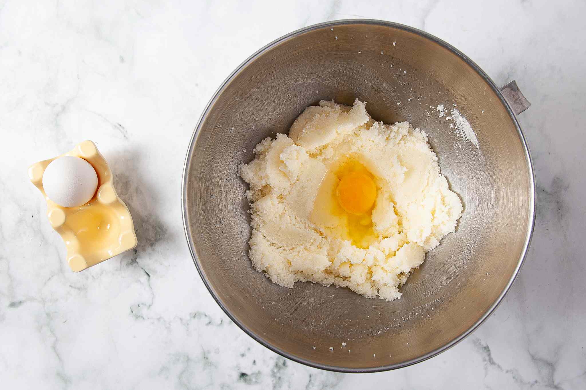 Egg added to the butter and sugar mixture