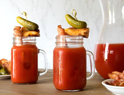 Crazy Bloody Mary With Bacon Straw and Grilled Cheese