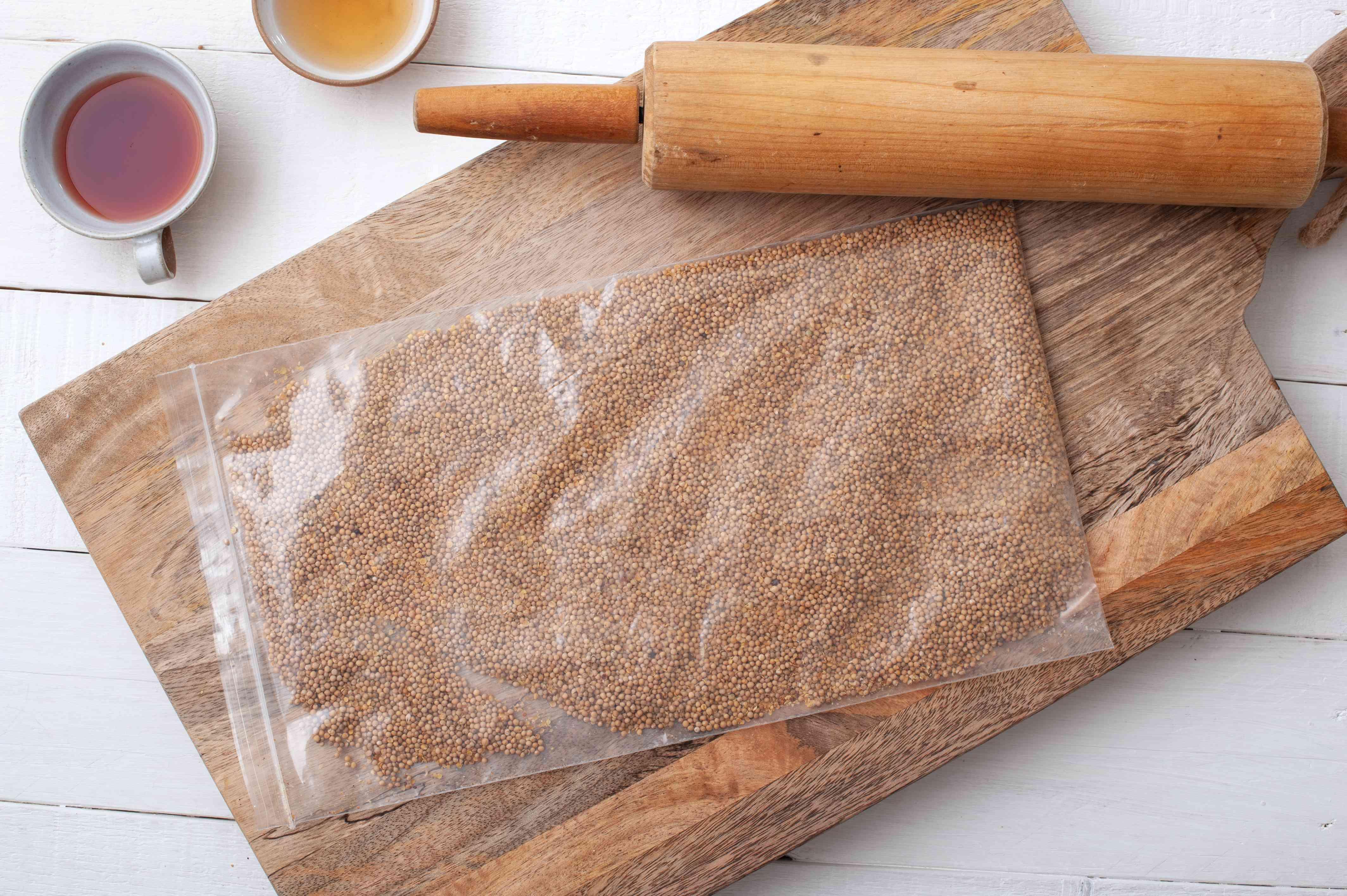 Place mustard seeds in ziptop bag