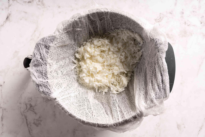 Pour coconut mixture into strainer