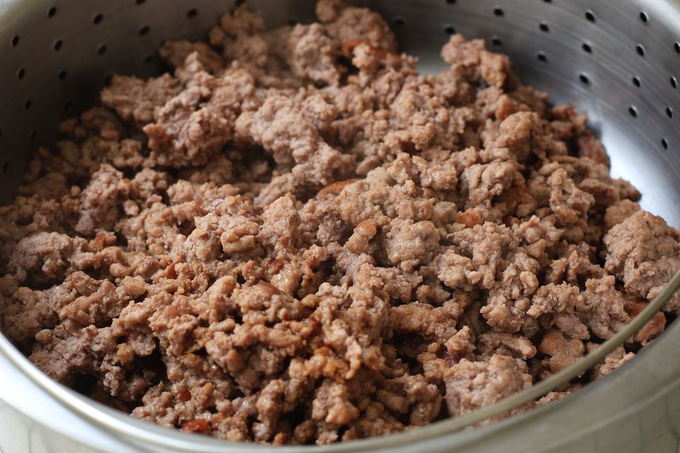 Ground beef draining