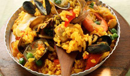 Paella made with seafood and shellfish