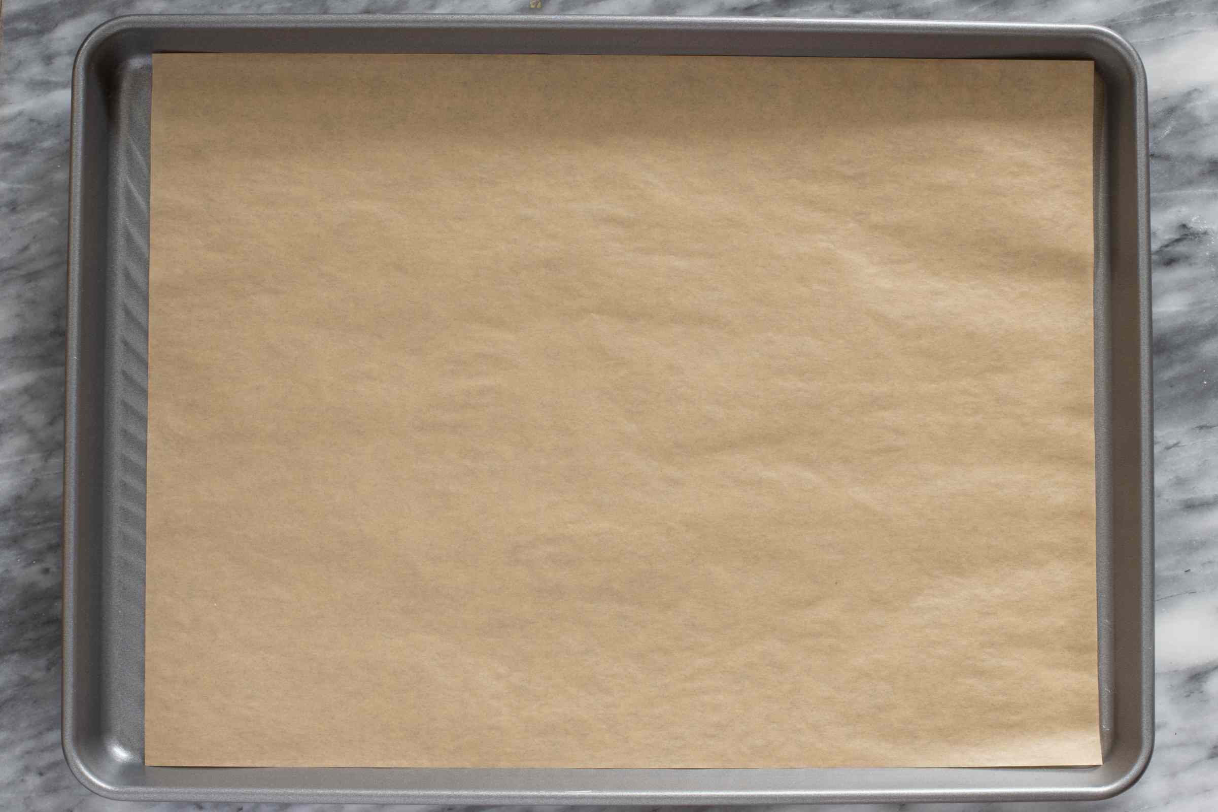 Baking sheet with parchment paper.