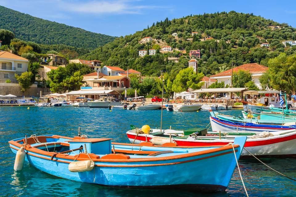 Colourful Greek fishing boats in port of Kioni on Ithaca island, Greece