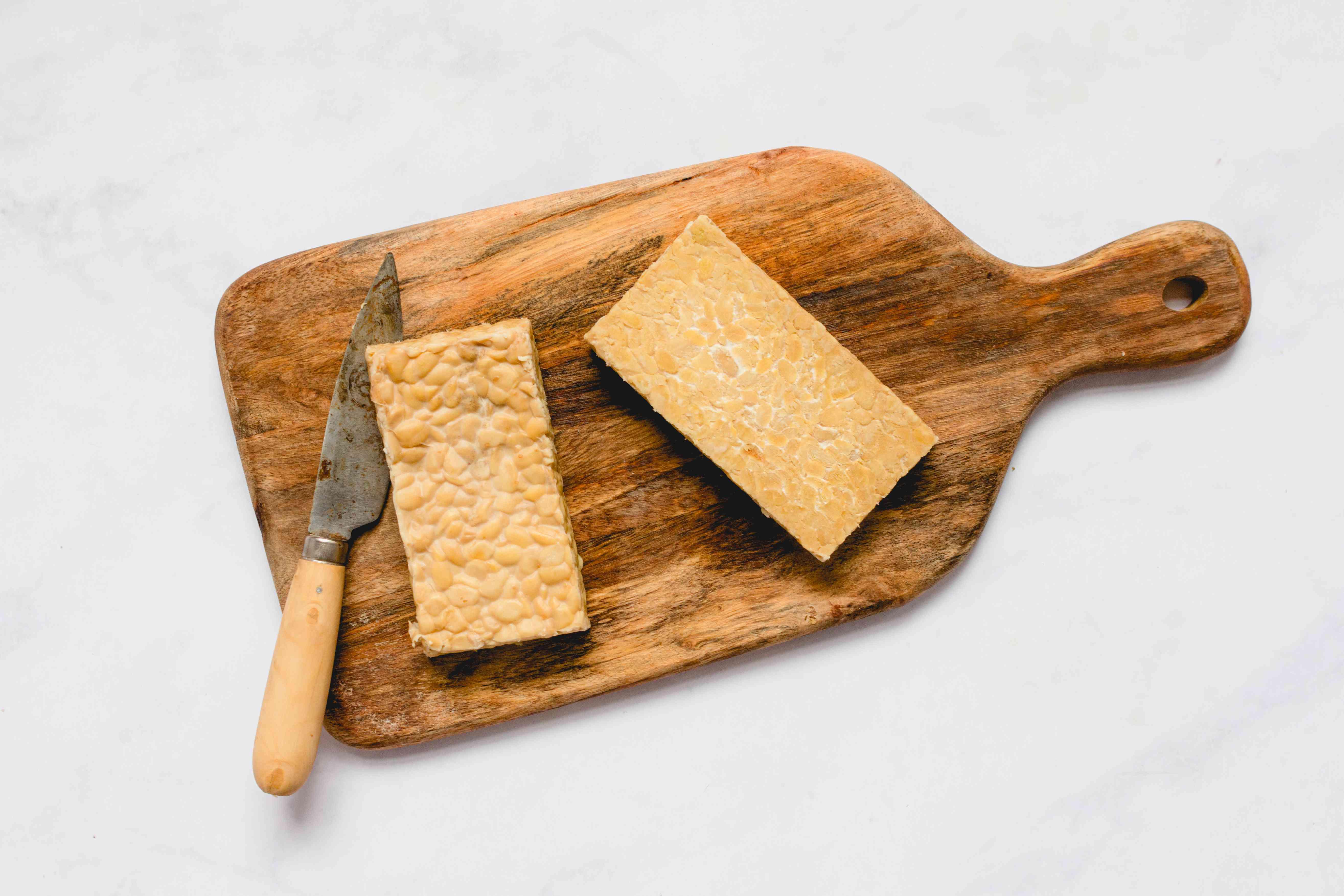 tempeh on a cutting board