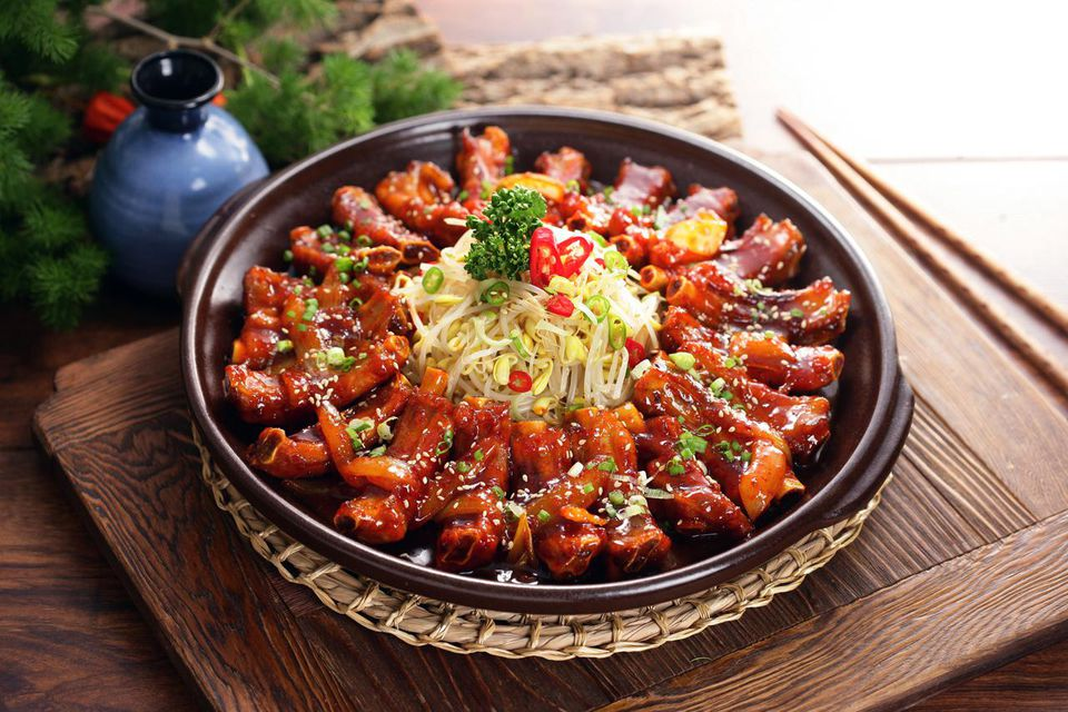 A plate of marinated Daeji Galbi