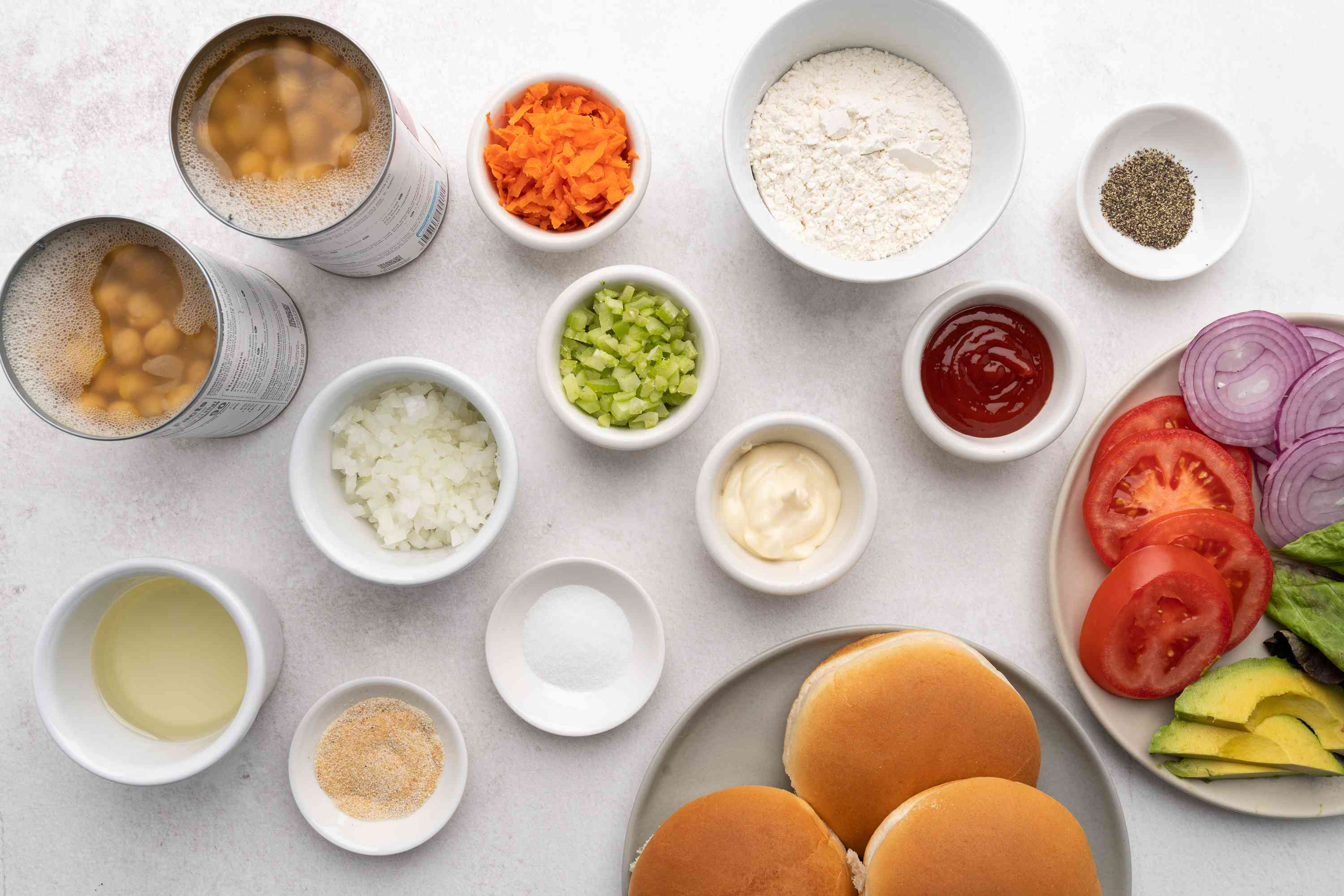 Ingredients for chickpea burger