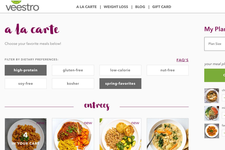 Veestro website ordering process