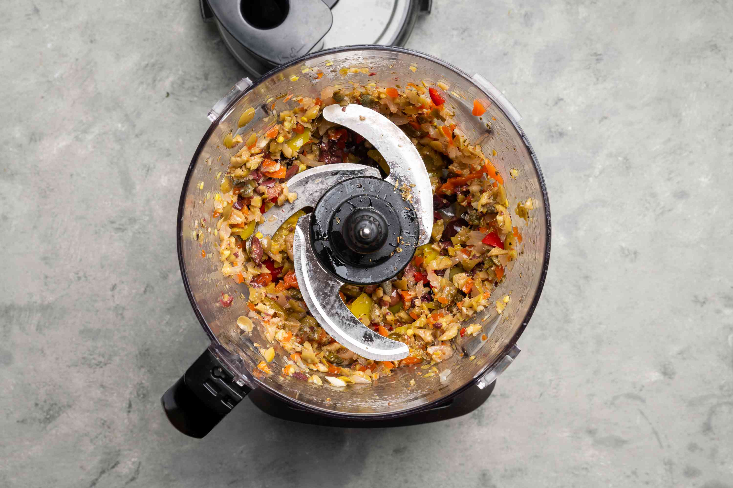 Olive salad ingredients pulsed in food processor until coarsely chopped