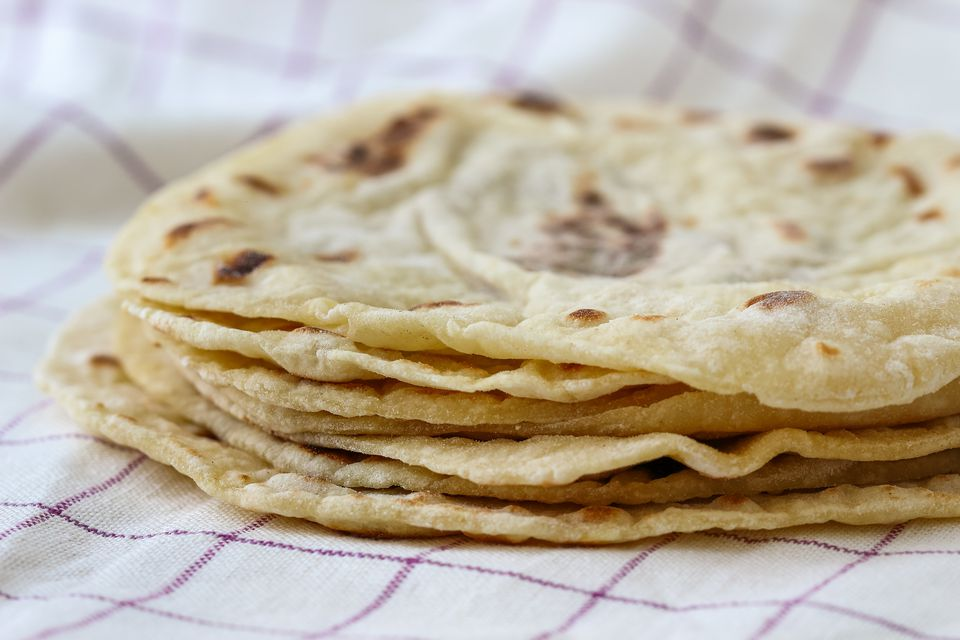 Stack of lefse potato flatbread