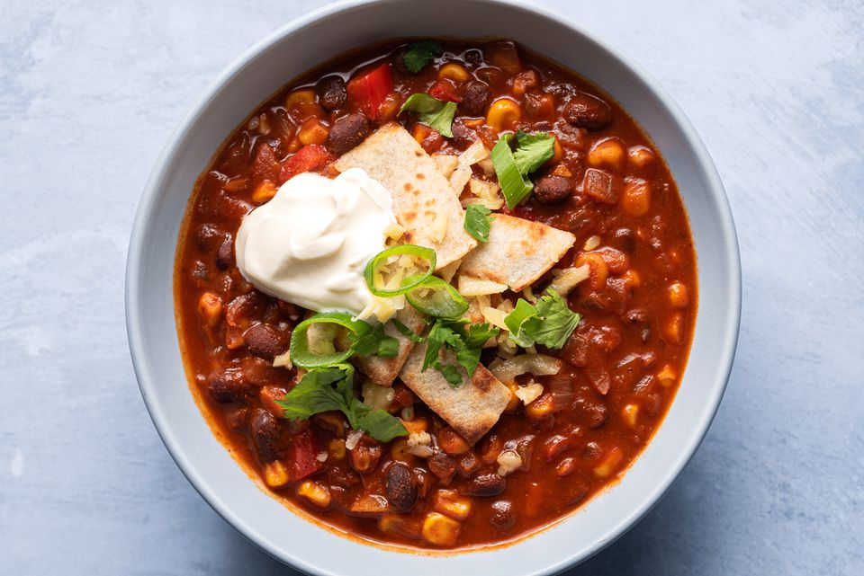 A bowl of black bean and corn chili