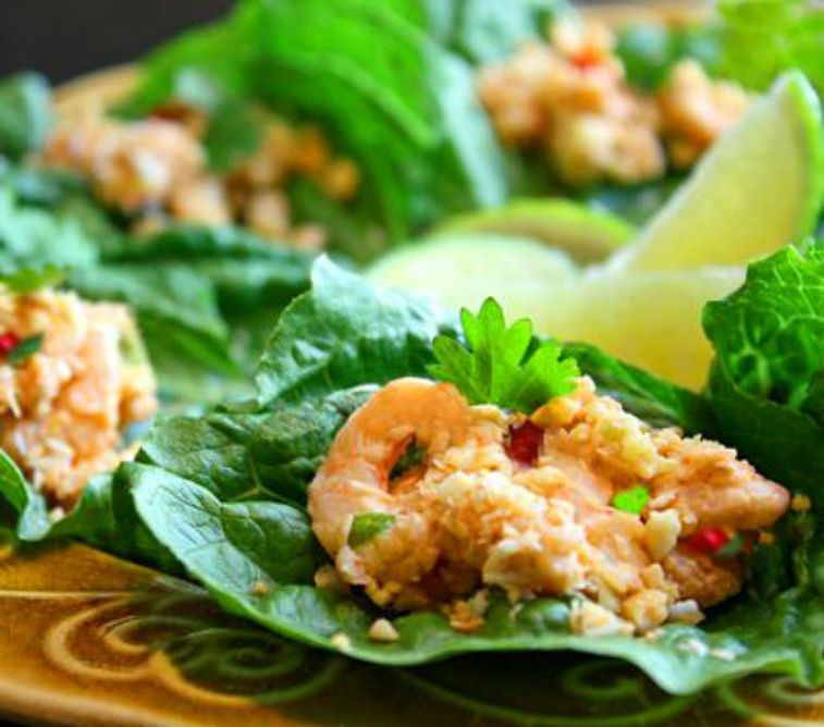 Thai Mini Shrimp Lettuce Wraps