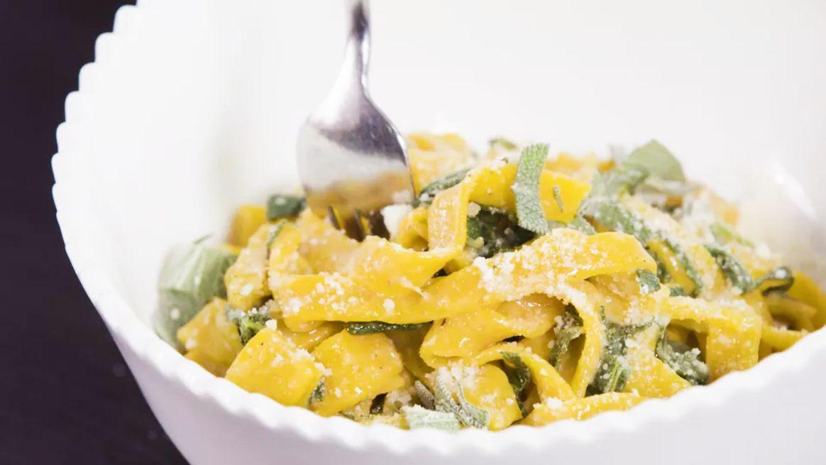 Two-Ingredient Pumpkin Pasta With Brown Butter Sage Sauce