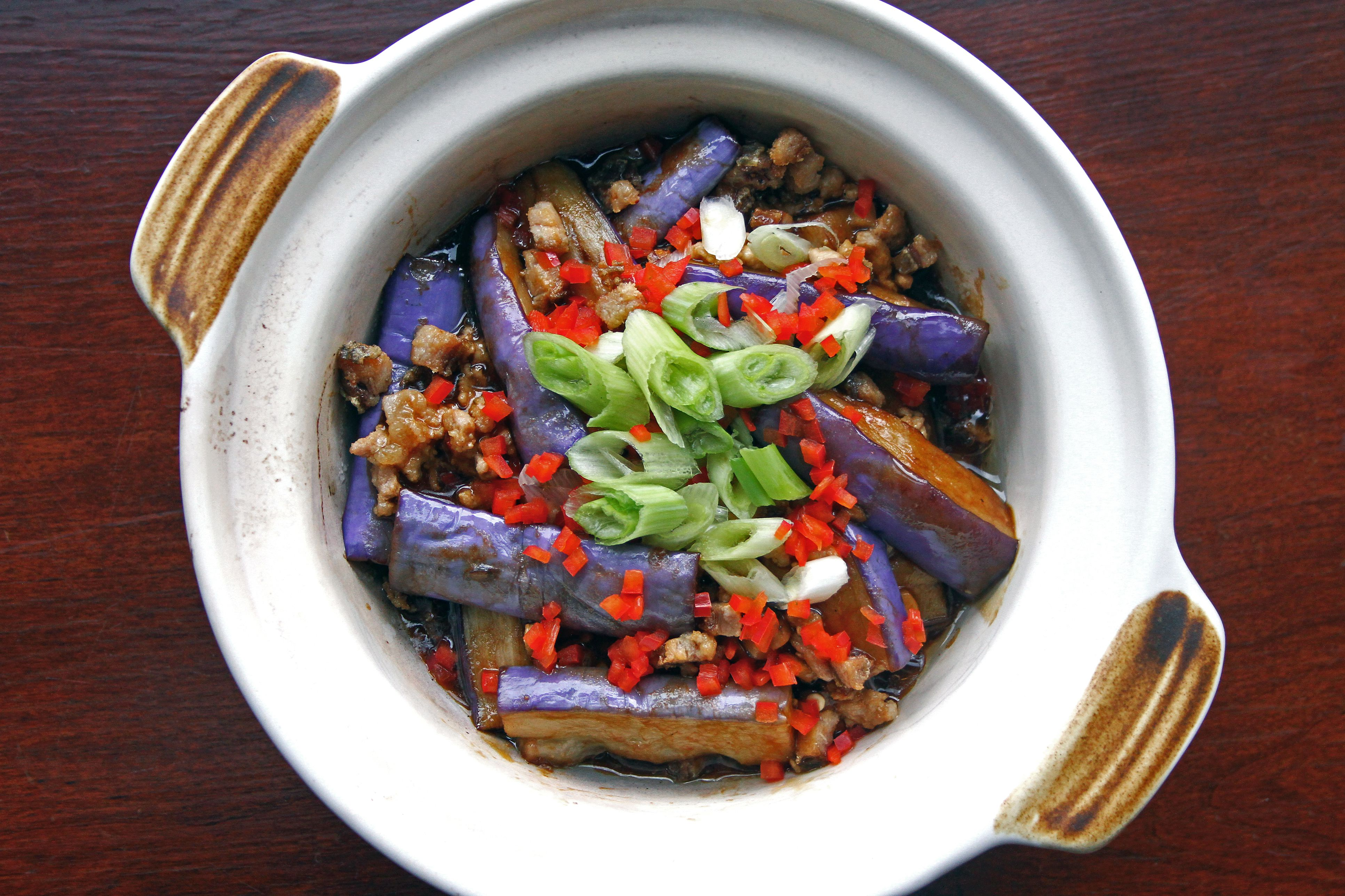 Chinese cuisine, braised eggplant and minced pork