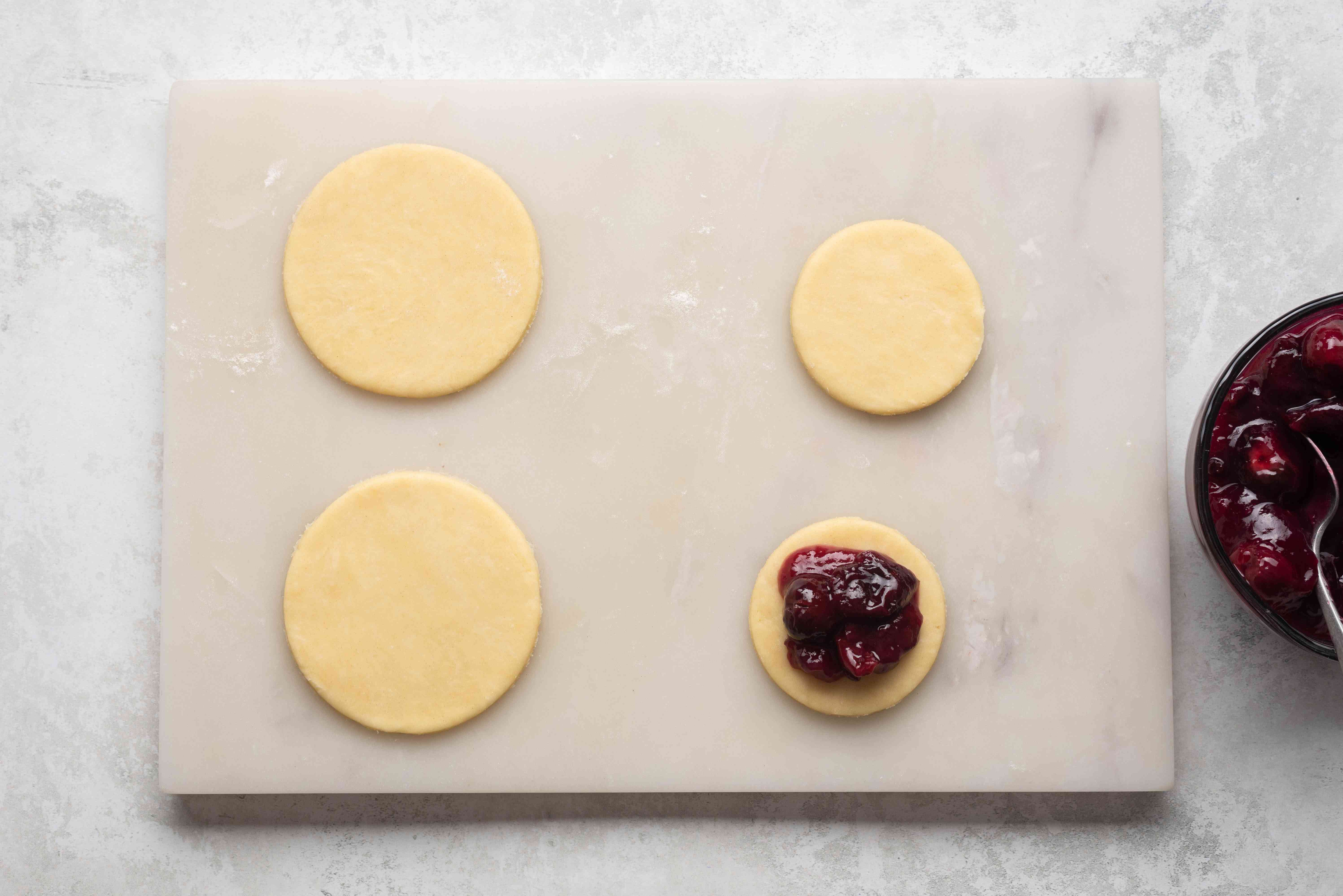 cherry filling on top of dough