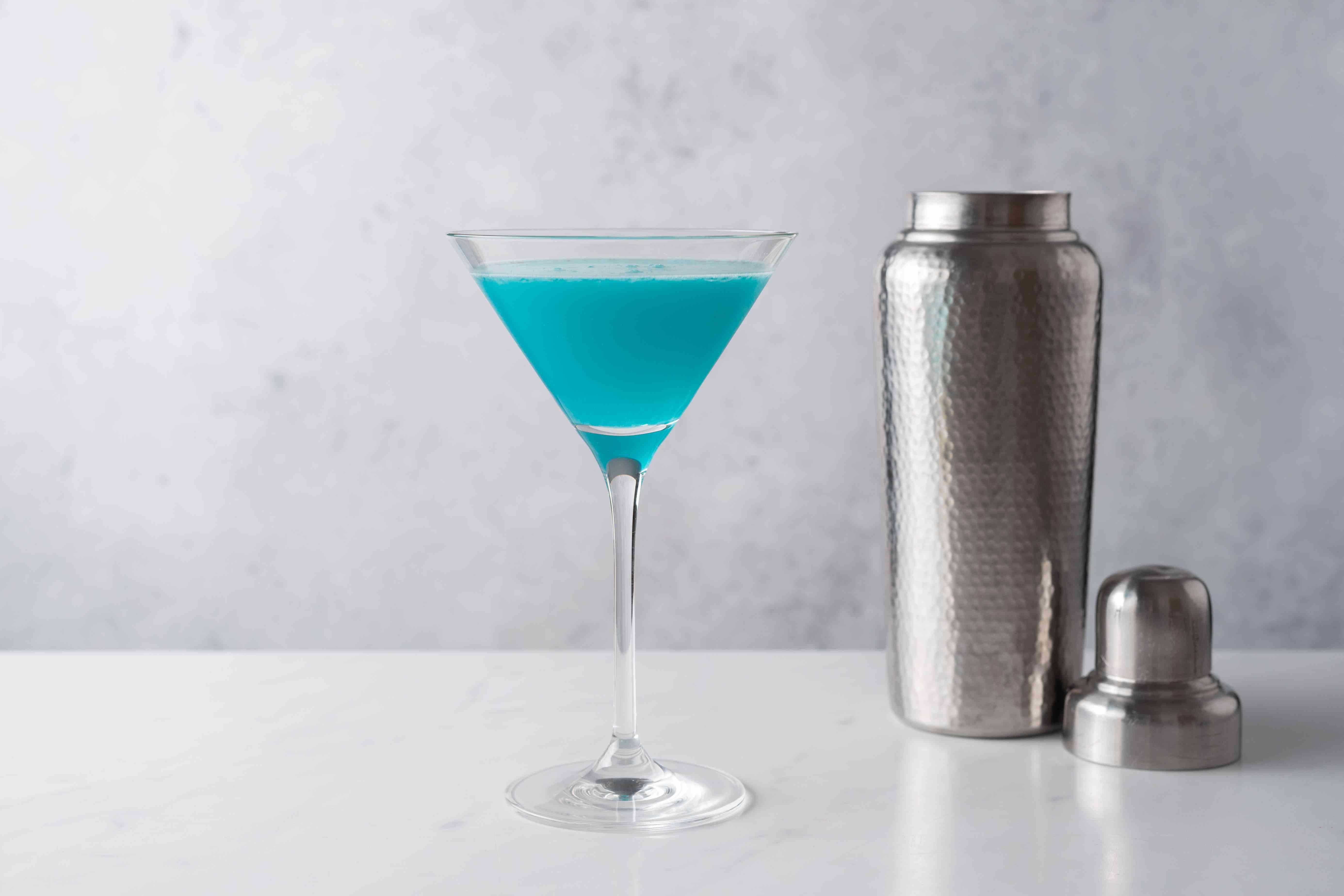 Deep Blue Sea Martini in a martini glass